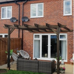 Lean To Pergola - Rustic brown