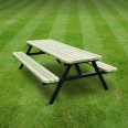 Oakham steel rounded picnic bench - 6ft