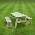 Oakham rounded picnic table and bench set - 3ft