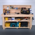 Wooden Work Bench With Back panel