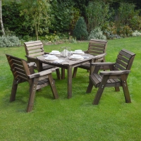 Barrowden Dining Set - 130cm - Curved with 4 chairs