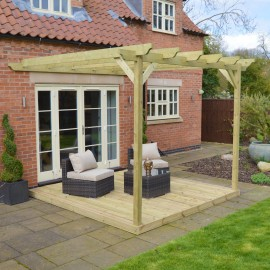 Wall Mounted Pergola and Decking Kit - 3.6m x 3.6m - 2 Posts