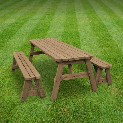 Oakham rounded picnic table and bench set - 8ft
