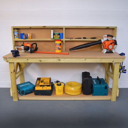 MDF Wooden Work Bench with Back Panel - Pressure Treated