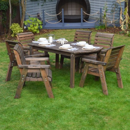 Barrowden Dining Set - 200cm - Curved with 6 chairs