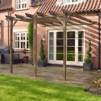 Lean To Garden Pergola 4.8m X 4.8m   3 Posts