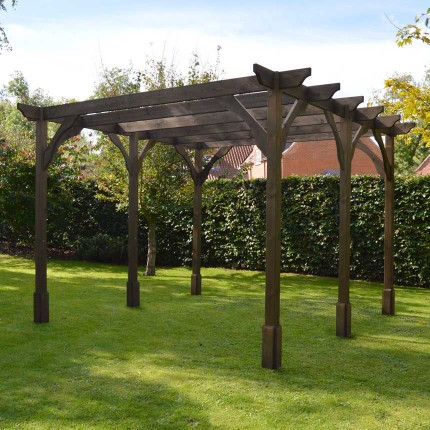 Premium Pergola - 4.2m x 4.2m - 6 Post - Rustic Brown