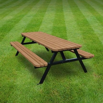 Oakham steel rounded picnic bench - 8ft