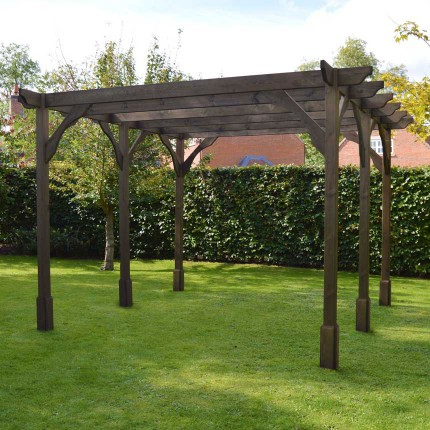 Premium Pergola - 4.8m x 4.8m - 6 Post - Rustic Brown