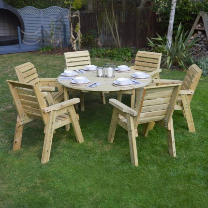 Barrowden Dining Set - 150cm - Circular with 6 chairs