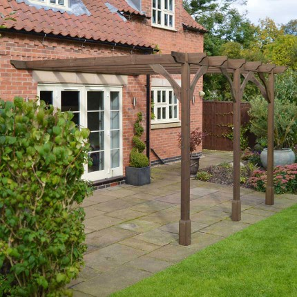 Premium Lean to Pergola - 4.2m x 4.2m - 6 Post - Rustic Brown - Rutland  County Garden Furniture - Premium Lean To Pergola - 4.2m X 4.2m - 6 Post - Rustic Brown