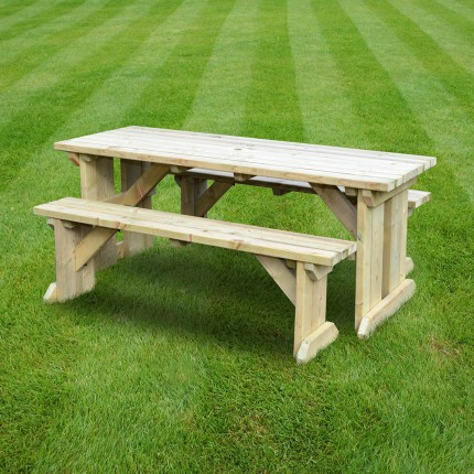 Tinwell picnic table and bench set   5ft. Tinwell picnic table and bench set   5ft   Rutland County Garden