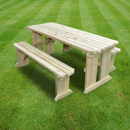Tinwell Rounded picnic table and bench set - 6ft