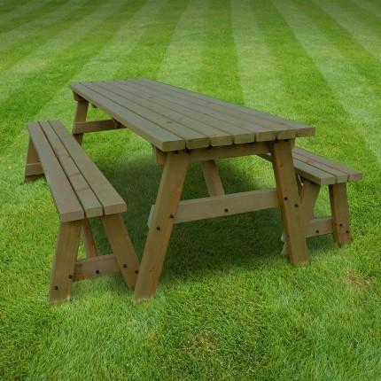 Oakham picnic table and bench set - 5ft & Oakham picnic table and bench set - 5ft - Rutland County Garden ...