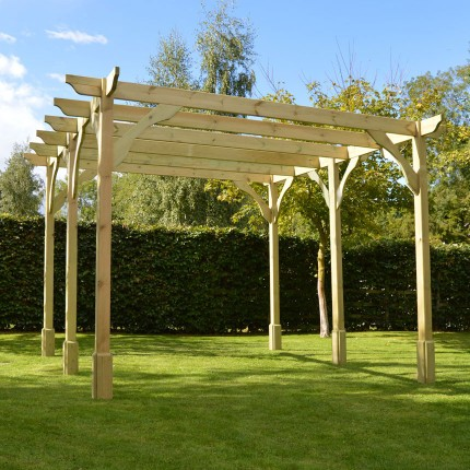 Premium Pergola - 4.2m x 4.2m - 6 Post - Light Green