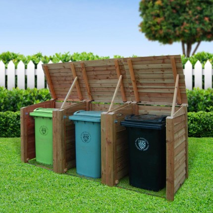 Storage unit product code trbs1 the morcott triple wheelie bin storage