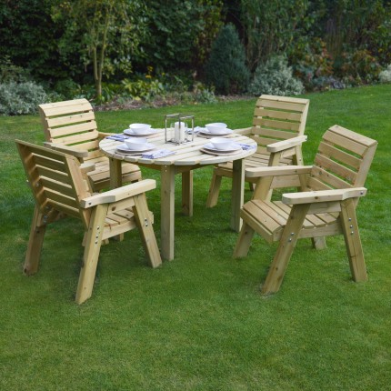 Barrowden Dining Set - 120cm - Circular with 4 chairs