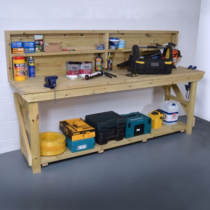 Wooden Work Bench With Back Panel - Pressure Treated