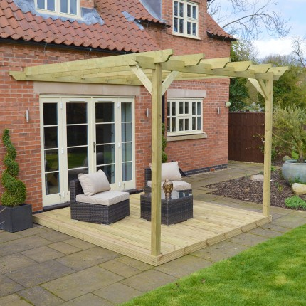 Wall Mounted Pergola and Decking Kit - 2.4m x 2.4m - 2 Posts