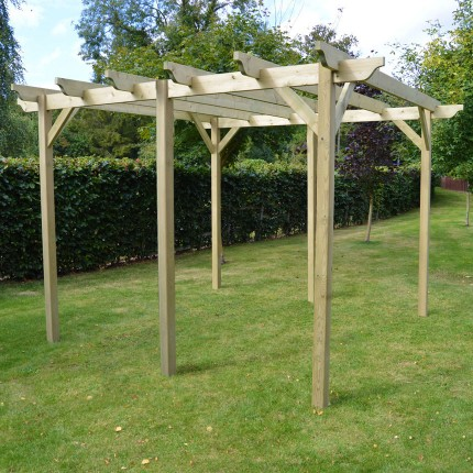 Garden Pergola 4.2m x 4.2m - Sculpted Rafter End - 6 Posts - Garden Pergola 4.2m X 4.2m - Sculpted Rafter End - Rutland County