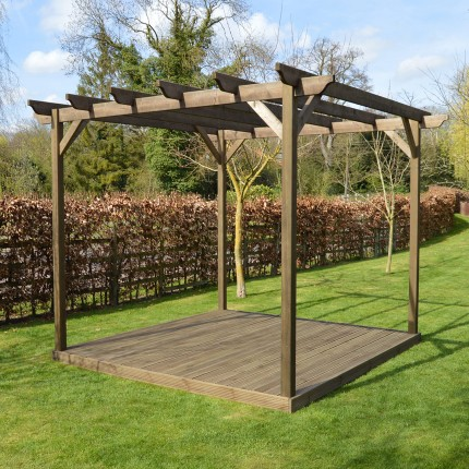 Wooden Pergola And Decking Kit 3m X 3m Rutland County