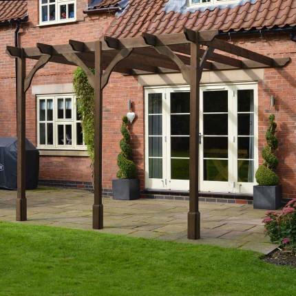 Premium Lean to Pergola - 4.8m x 4.8m - 3 Post - Rustic Brown - Premium Lean To Pergola - 4.8m X 4.8m - 3 Post - Rustic Brown
