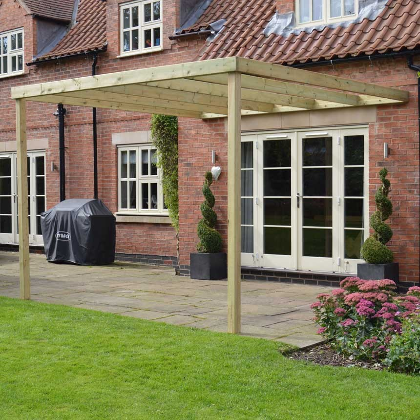 Lean To Patio Covered Wood: Wooden Lean To Box Pergola